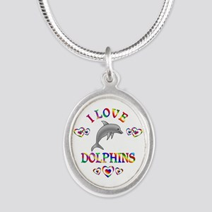 I Love Dolphins Silver Oval Necklace