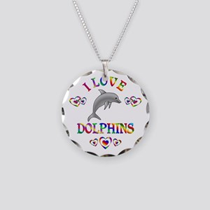 I Love Dolphins Necklace Circle Charm
