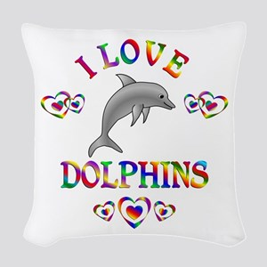I Love Dolphins Woven Throw Pillow