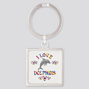 I Love Dolphins Square Keychain