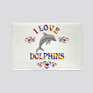 I Love Dolphins Rectangle Magnet