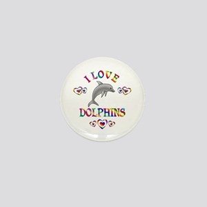 I Love Dolphins Mini Button