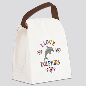 I Love Dolphins Canvas Lunch Bag