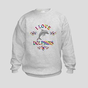 I Love Dolphins Kids Sweatshirt