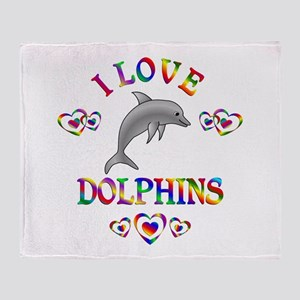 I Love Dolphins Throw Blanket