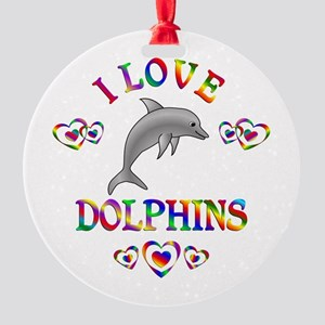 I Love Dolphins Round Ornament