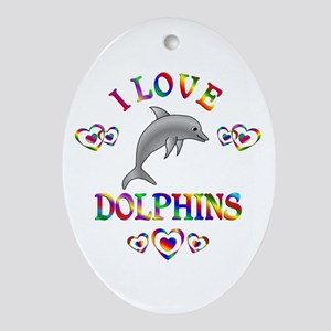 I Love Dolphins Ornament (Oval)