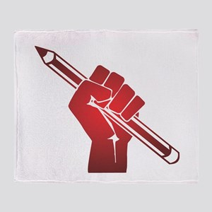 Pencil in a Raised Fist Throw Blanket