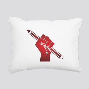 Pencil in a Raised Fist Rectangular Canvas Pillow