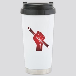 Pencil in a Raised Fist Stainless Steel Travel Mug