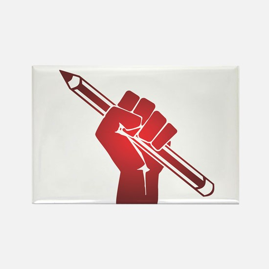 Pencil in a Raised Fist Magnets