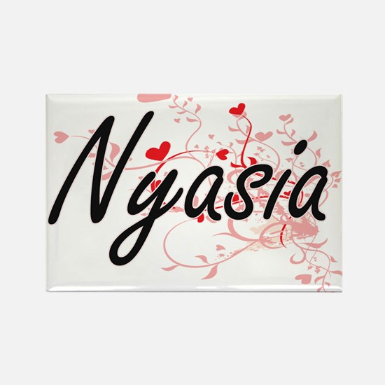 Nyasia Artistic Name Design with Hearts Magnets