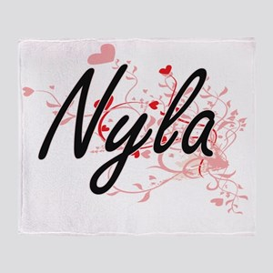 Nyla Artistic Name Design with Heart Throw Blanket