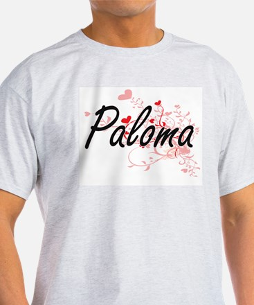 Paloma Artistic Name Design with Hearts T-Shirt