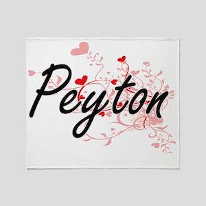 Peyton Artistic Name Design with Hea Throw Blanket