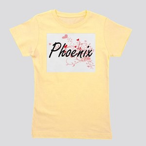 Phoenix Artistic Name Design with Heart Girl's Tee