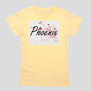 Phoenix Artistic Name Design with Heart Girl's Tee