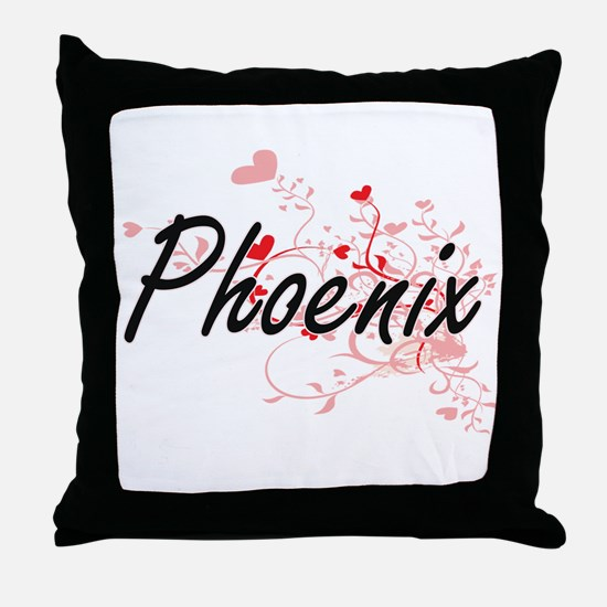 Phoenix Artistic Name Design with Hea Throw Pillow