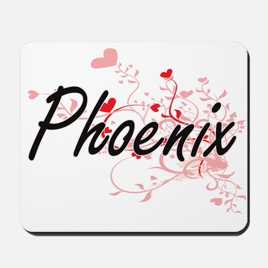 Phoenix Artistic Name Design with Hearts Mousepad