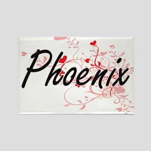 Phoenix Artistic Name Design with Hearts Magnets