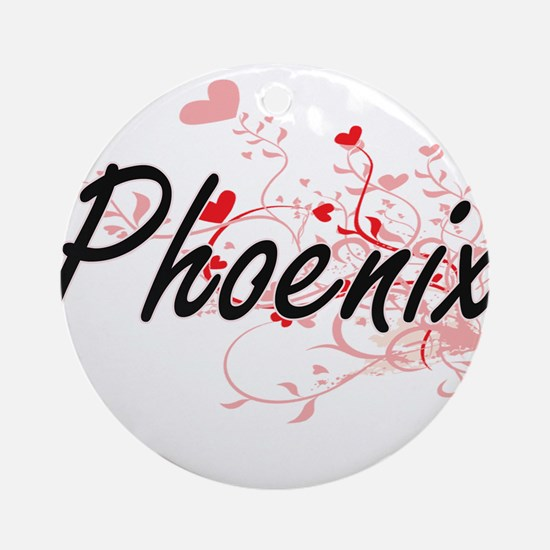 Phoenix Artistic Name Design with Ornament (Round)
