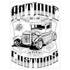 Hot Rod - Antique Customs (black) Poster
