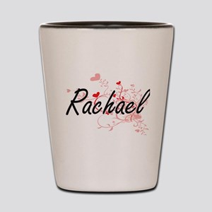 Rachael Artistic Name Design with Heart Shot Glass