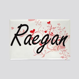 Raegan Artistic Name Design with Hearts Magnets