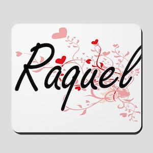 Raquel Artistic Name Design with Hearts Mousepad
