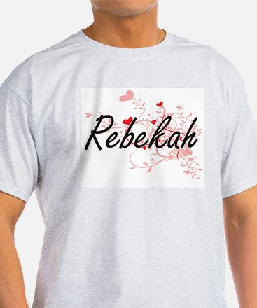 Rebekah Artistic Name Design with Hearts T-Shirt