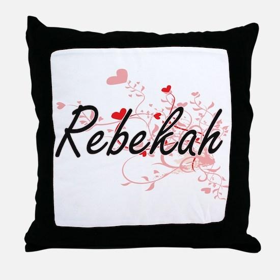 Rebekah Artistic Name Design with Hea Throw Pillow