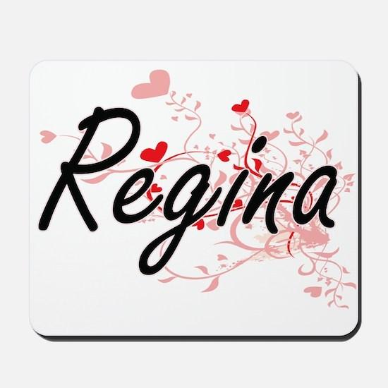 Regina Artistic Name Design with Hearts Mousepad