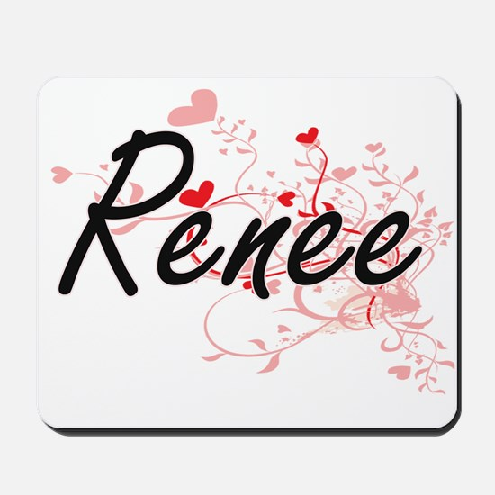 Renee Artistic Name Design with Hearts Mousepad