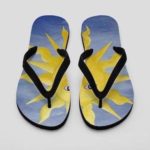 Whimsical Sun Flip Flops