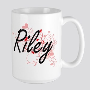 Riley Artistic Name Design with Hearts Mugs