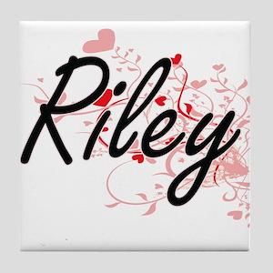 Riley Artistic Name Design with Heart Tile Coaster
