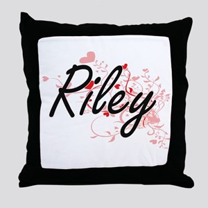 Riley Artistic Name Design with Heart Throw Pillow
