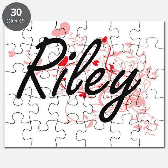 Riley Artistic Name Design with Hearts Puzzle