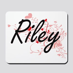 Riley Artistic Name Design with Hearts Mousepad