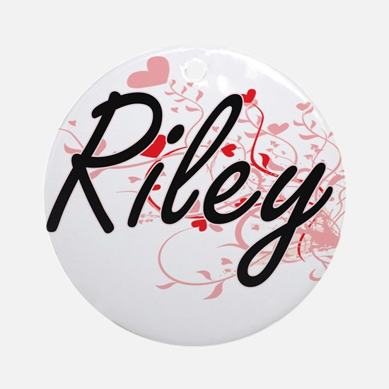 Riley Artistic Name Design with H Ornament (Round)