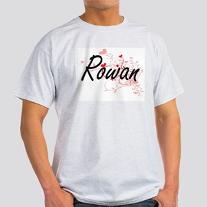 Rowan Artistic Name Design with Hearts T-Shirt
