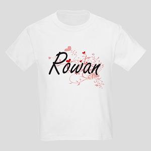 Rowan Artistic Name Design with Hearts T-Shirt