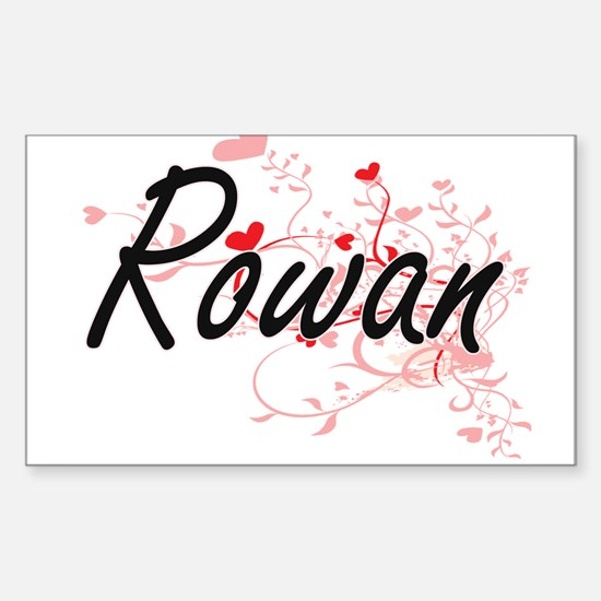 Rowan Artistic Name Design with Hearts Decal