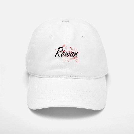 Rowan Artistic Name Design with Hearts Baseball Baseball Cap