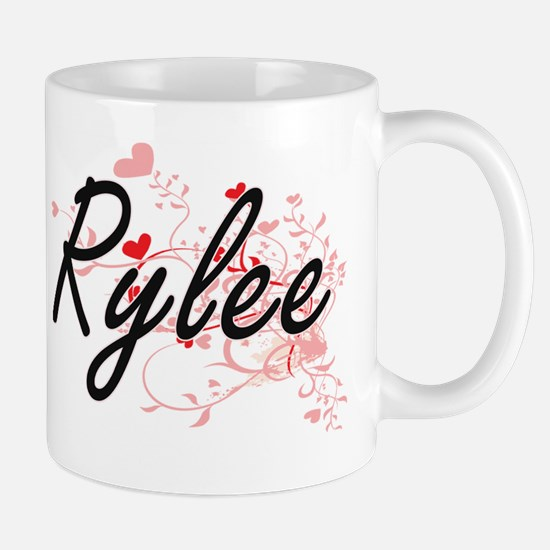 Rylee Artistic Name Design with Hearts Mug