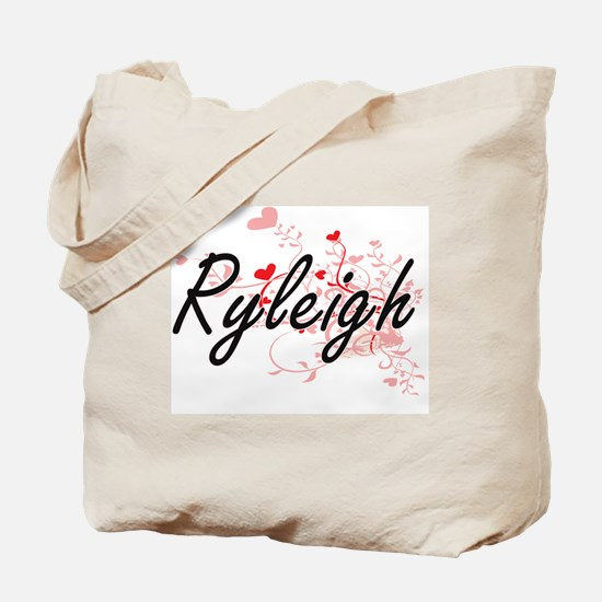 Ryleigh Artistic Name Design with Hearts Tote Bag