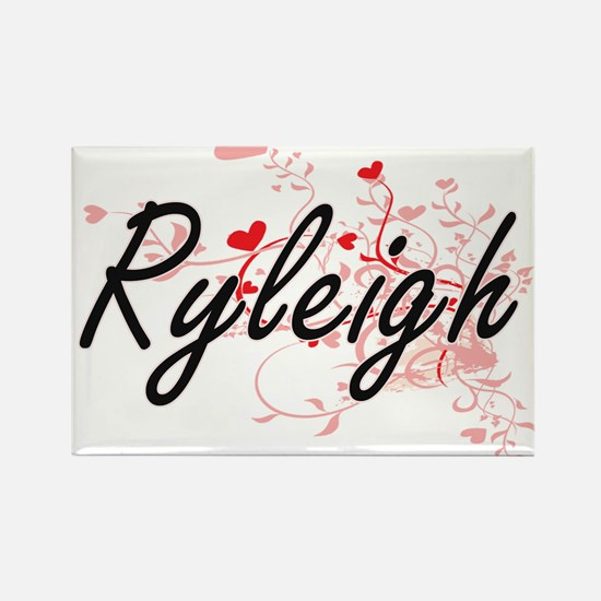 Ryleigh Artistic Name Design with Hearts Magnets