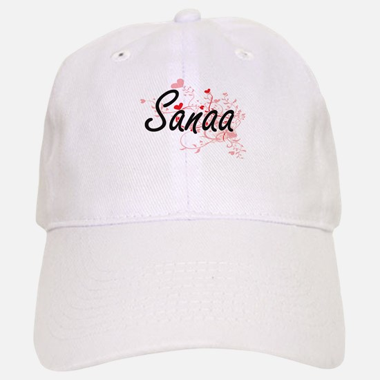 Sanaa Artistic Name Design with Hearts Baseball Baseball Cap