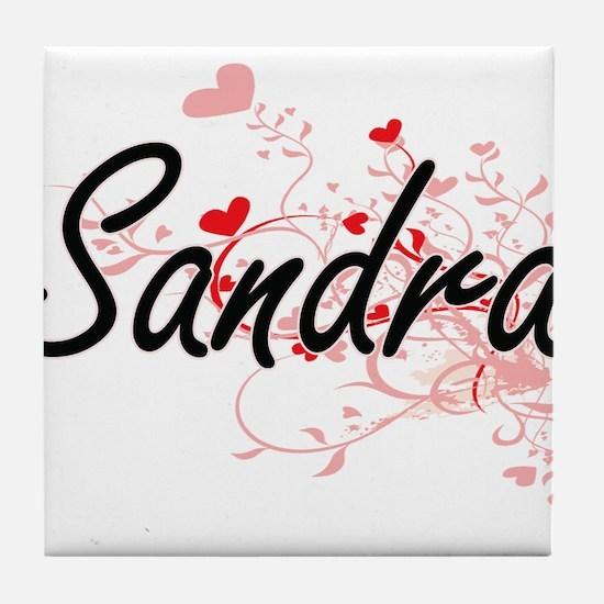 Sandra Artistic Name Design with Hear Tile Coaster