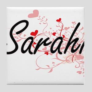 Sarahi Artistic Name Design with Hear Tile Coaster